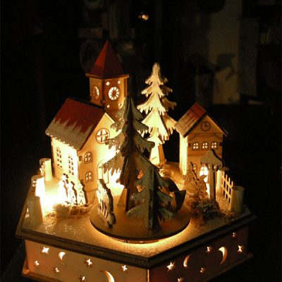 paesaggio di natale illuminato in legno idea regalo natalizia